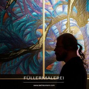 Künstler vor Füllergemälde