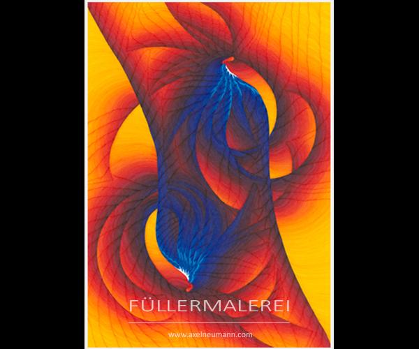 Gelb-blaues Füllergemälde Axel Neumann