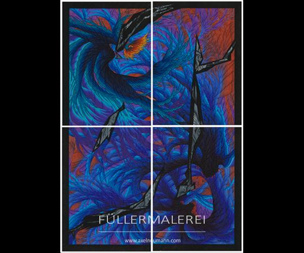 großformatiges blaues Füllergemälde von Axel Neumann