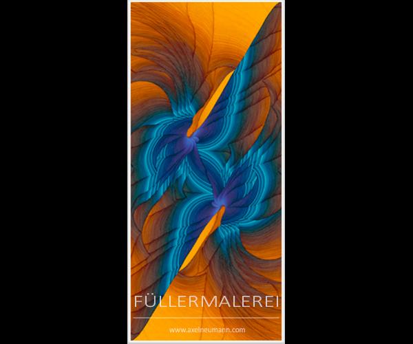 blau-goldfarbenes Füllergemälde Axel Neumann