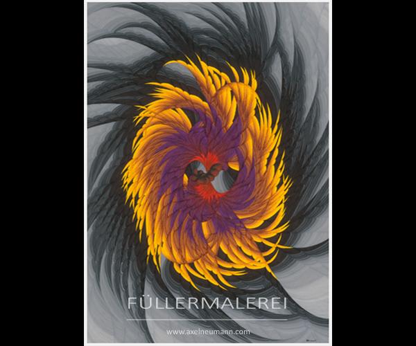 gelber Strudel auf grauem Grund Füllergemälde Axel Neumann